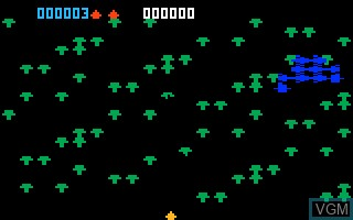 In-game screen of the game Centipede on Mattel Intellivision