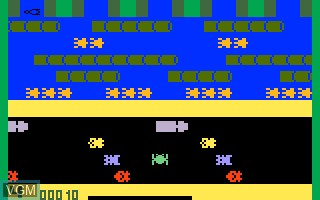 In-game screen of the game Frogger on Mattel Intellivision