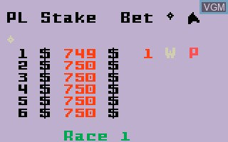 In-game screen of the game Horse Racing on Mattel Intellivision