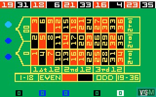 In-game screen of the game Las Vegas Roulette on Mattel Intellivision