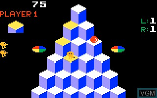 In-game screen of the game Q-bert on Mattel Intellivision