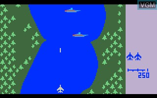 In-game screen of the game River Raid V1 on Mattel Intellivision