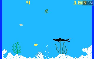 In-game screen of the game Shark! Shark! on Mattel Intellivision