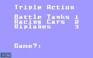In-game screen of the game Triple Action on Mattel Intellivision