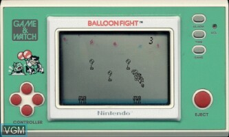 In-game screen of the game Balloon Fight on Electronic games