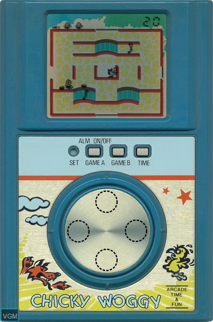 In-game screen of the game Chicky Woggy on Electronic games