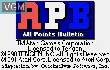 Title screen of the game APB - All Points Bulletin on Atari Lynx
