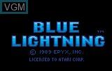 Title screen of the game Blue Lightning Demo on Atari Lynx