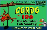 Title screen of the game Gordo 106 - The Mutated Lab Monkey on Atari Lynx