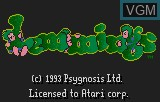 Title screen of the game Lemmings on Atari Lynx