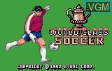 Title screen of the game World Class Soccer on Atari Lynx