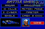 Menu screen of the game Battle Wheels on Atari Lynx