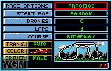 Menu screen of the game Checkered Flag on Atari Lynx
