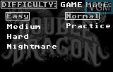 Menu screen of the game Double Dragon on Atari Lynx