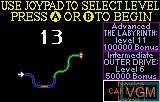 Menu screen of the game S.T.U.N. Runner on Atari Lynx