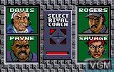 Menu screen of the game Tournament Cyberball 2072 on Atari Lynx