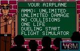 Menu screen of the game Warbirds on Atari Lynx