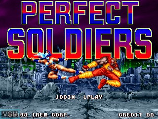 Title screen of the game Perfect Soldiers on MAME