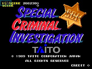 Title screen of the game Special Criminal Investigation on MAME