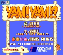 Title screen of the game Yam! Yam!? on MAME