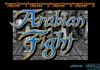 Title screen of the game Arabian Fight on MAME