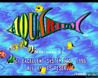 Title screen of the game Aquarium on MAME