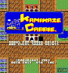 Title screen of the game Kamikaze Cabbie on MAME