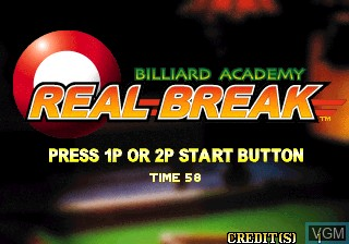 Title screen of the game Billiard Academy Real Break on MAME