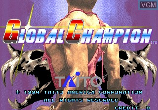 Title screen of the game Global Champion on MAME