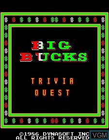 Title screen of the game Big Bucks on MAME