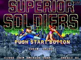 Title screen of the game Superior Soldiers on MAME