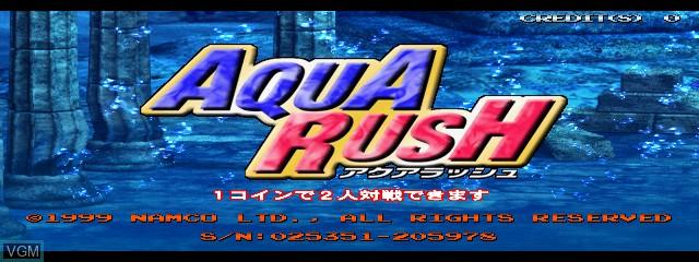 Title screen of the game Aqua Rush on MAME