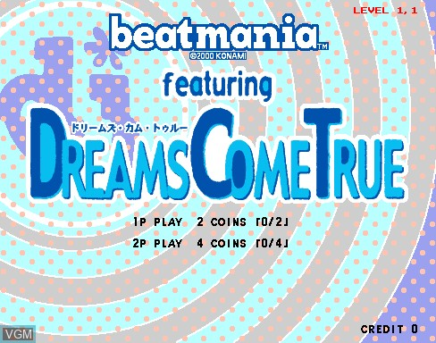 Title screen of the game Beatmania featuring Dreams Come True on MAME