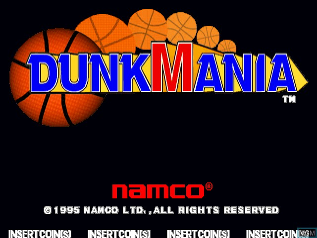 Title screen of the game Dunk Mania on MAME