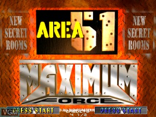 Title screen of the game Area 51 / Maximum Force Duo on MAME