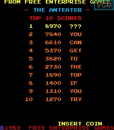 Title screen of the game Anteater, The on MAME