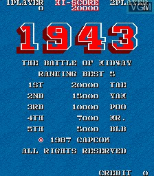 Title screen of the game 1943 - The Battle of Midway on MAME