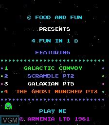 Title screen of the game 4 Fun in 1 on MAME
