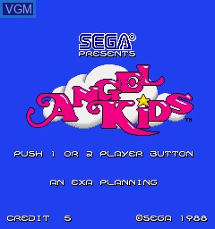 Title screen of the game Angel Kids on MAME