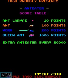 Title screen of the game Anteater on MAME