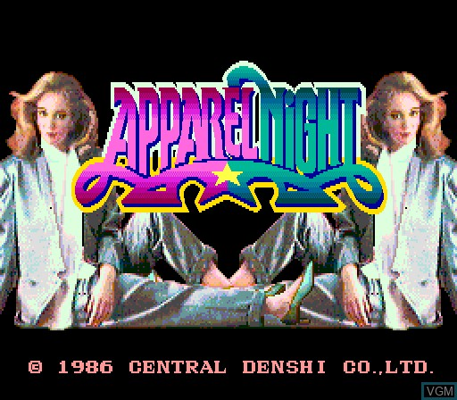 Title screen of the game Apparel Night on MAME