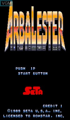 Title screen of the game Arbalester on MAME