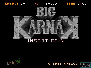 Title screen of the game Big Karnak on MAME