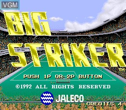 Title screen of the game Big Striker on MAME