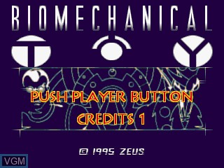 Title screen of the game Biomechanical Toy on MAME