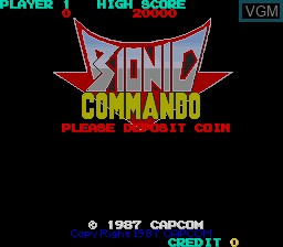 Title screen of the game Bionic Commando on MAME