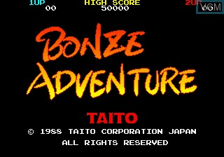Title screen of the game Bonze Adventure on MAME