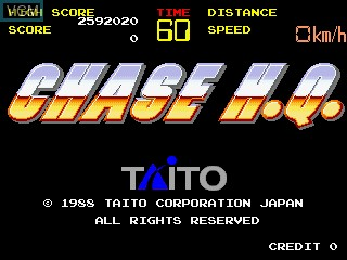 Title screen of the game Chase H.Q. on MAME