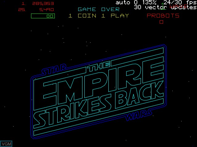 Title screen of the game Empire Strikes Back, The on MAME