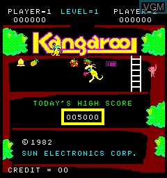 Title screen of the game Kangaroo on MAME